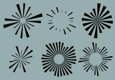 Ställ in 6 radiella linjer, strålar, strålbeståndsdelar Olik starburst, sol royaltyfri illustrationer