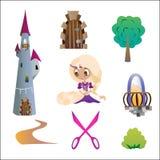 Ställ in Rapunzel Royaltyfri Illustrationer