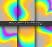 Ställ in 6 realistiska holographic bakgrunder i olika färger för design vektor illustrationer