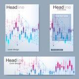 Ställ in reklambladet, mallen för broschyrformatet A4, baner Aktiemarknad- eller forexhandelgraf Diagram i finansmarknadvektor vektor illustrationer