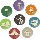 Ställ in rekreation, sportar rundar symboler med skuggor Royaltyfri Bild