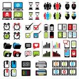 Ställ in rengöringsduk-datoren symboler Arkivfoto
