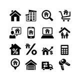 Ställ in 16 rengöringsduksymboler. Real Estate Arkivbilder