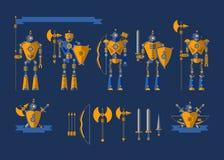 Ställ in robotriddarna vektor illustrationer