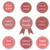 Ställ in rosa klistermärkear handgjorda Arkivbilder