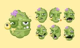 Ställ in ruskigt ansiktsuttryck för vektorsatssamlingen av levande dödsinnesrörelser stock illustrationer