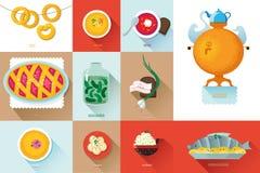 Ställ in rysk nationell mat Illustrationkokkonst stock illustrationer