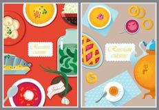 Ställ in rysk nationell mat Intelligens för kokkonst för matillustrationryss stock illustrationer
