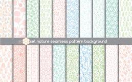 Ställ in sömlösa modeller för naturen modellprovkartor som är inklusive för illustratöranvändare, Arkivbild