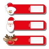 Ställ in s-modellen för etikettjul skriver med framsidan Santa Claus, hjortar och snögubben som isoleras på vit bakgrund Royaltyfri Foto