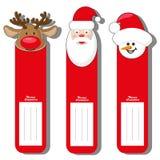 Ställ in s-modellen för etikettjul skriver med framsidan Santa Claus, hjortar och snögubben som isoleras på vit bakgrund Royaltyfri Fotografi