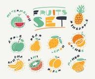 Ställ in samlingen av frukter royaltyfri illustrationer
