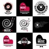 Ställ in samlingen av musiklogoer och emblem Arkivbilder