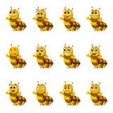 Ställ in samlingen Caterpillar med ansiktsuttryck Arkivbilder