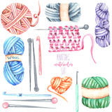 Ställ in samlingen med vattenfärghandarbetebeståndsdelar: garn, stickor och virkningkrokar royaltyfri illustrationer