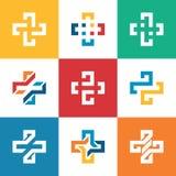 Ställ in samlingen plus logomall Medicinsk sjukvårdhospi Arkivbild