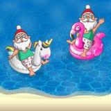 Ställ in Santa Clauses med den uppblåsbara flötet för flamingo som och för enhörningen är främst av den sandiga stranden - sommar vektor illustrationer