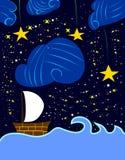 Ställ in seglar på den stjärnklara natten Arkivfoton