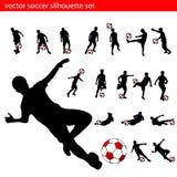 ställ in silhouettefotboll stock illustrationer