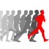 ställ in silhouettes Löpare sprintar på, män vektor Royaltyfri Bild