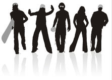 ställ in silhouettesportar Fotografering för Bildbyråer
