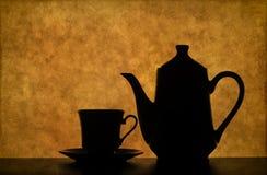 ställ in silhouettetea Royaltyfri Foto