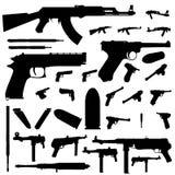 ställ in silhouettevapen Fotografering för Bildbyråer