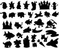 ställ in silhouettevektorn royaltyfri illustrationer