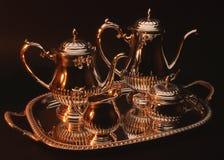 ställ in silverteapoten Royaltyfria Foton