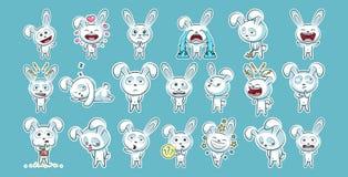 Ställ in sinnesrörelse för emoticonen för emojien för satssamlingsklistermärken stock illustrationer