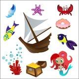Ställ in sjöjungfru 2 vektor illustrationer