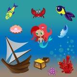 Ställ in sjöjungfrun vektor illustrationer