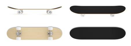 Ställ in skateboarden isolerad på vit bakgrund Fotografering för Bildbyråer