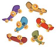 ställ in skateboards royaltyfri illustrationer