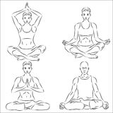 ställ in skissar yoga Arkivbild