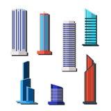 Ställ in skyskrapor höga byggnader Exponeringsglas färgrikt Plan stil också vektor för coreldrawillustration stock illustrationer