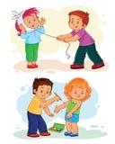 Ställ in små barn för symboler sjuka vektor illustrationer