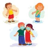 Ställ in små barn för symboler sjuka stock illustrationer