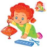 Ställ in små flickor för symboler som spelar med leksaker stock illustrationer