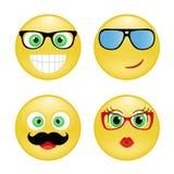 Ställ in smileyen Royaltyfria Bilder