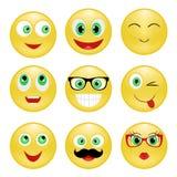Ställ in smileyen Arkivbild