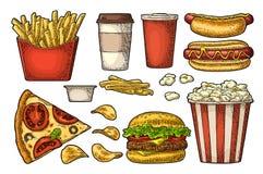 Ställ in snabbmat Kaffe hamburgare, pizza, hotdog, småfiskpotatis, popcorn royaltyfri illustrationer