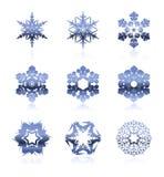 ställ in snowflakes Arkivbilder