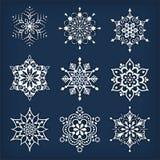 ställ in snowflakes Fotografering för Bildbyråer
