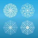 ställ in snowflakes Royaltyfri Foto