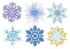 ställ in snowflakes Arkivbild