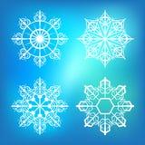 ställ in snowflakes royaltyfri illustrationer