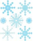 ställ in snowflakes arkivfoton