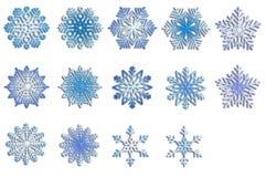 ställ in snowflakes Vinterbeståndsdelar vita blåa snowflakes för bakgrund Arkivbilder