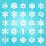 ställ in snowflakes vita Royaltyfri Foto